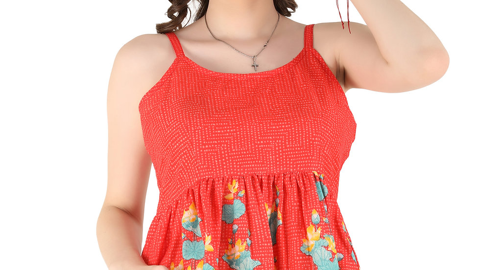 UNFAKENOW Casual No Sleeve Floral Printed Women Red Cotton Top
