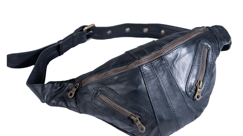 UNFAKENOW Genuine Leather Unisex Waist Bag Waist Bag  (Blue)