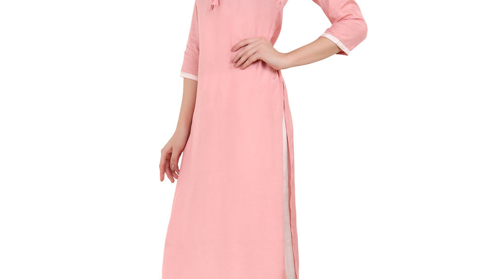 UNFAKENOW  Women Solid Rayon Straight Pink Kurta Plazo Set
