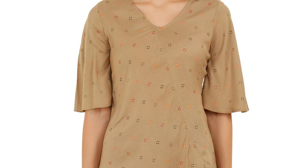 UNFAKENOW  Casual Flared Sleeve Printed Women Brown Top