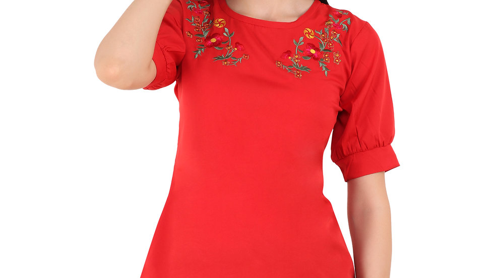 UNFAKENOW  Casual Balloon Sleeve Embroidered Women Red Top
