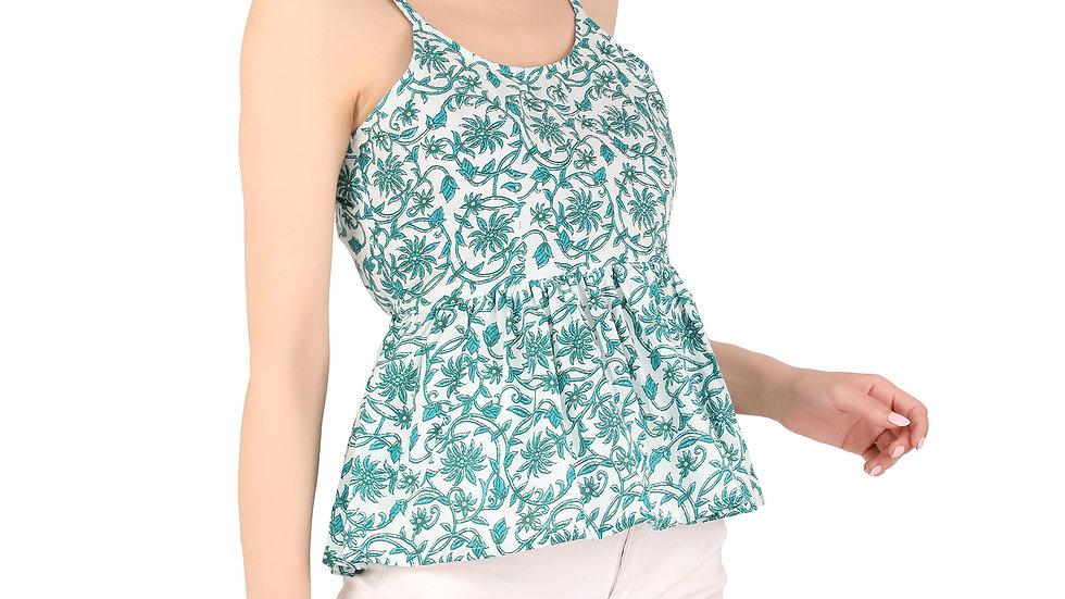 UNFAKENOW  Casual Sleeveless Floral Print Women Green Cotton Top