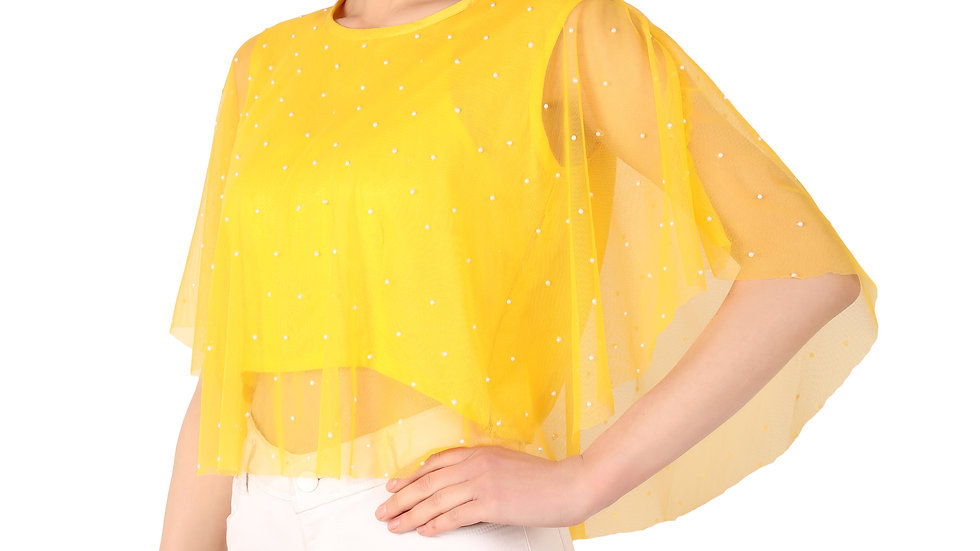 UNFAKENOW  Party No Sleeve Pearl  Embellished Women Yellow Net Top