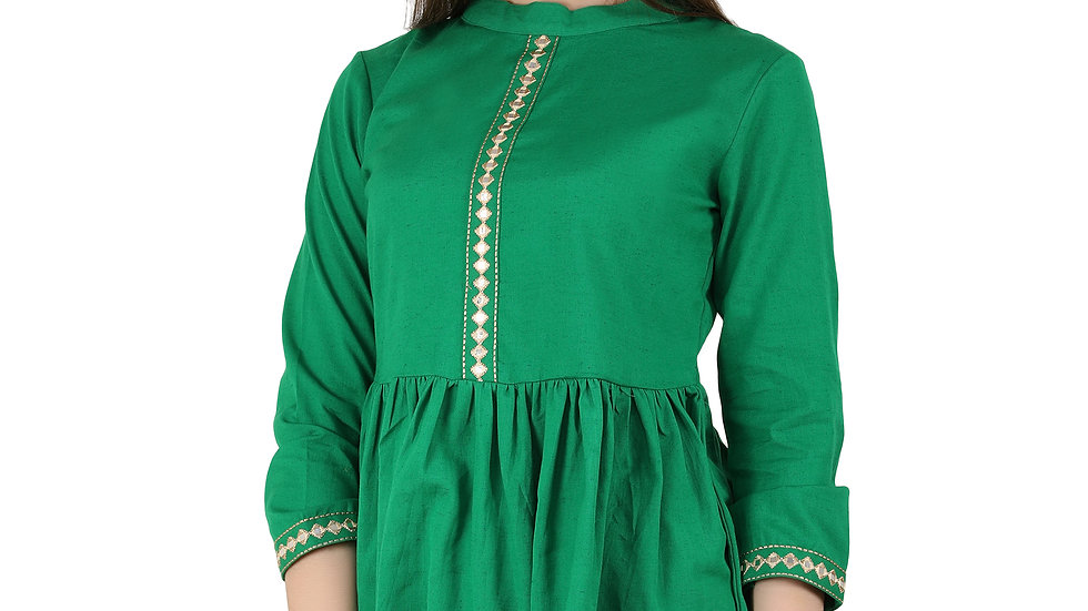 UNFAKENOW  Formal 3/4 Sleeve Embroidered Women Green Top
