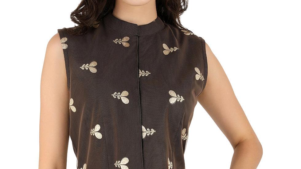 UNFAKENOW  Party Sleeveless Floral Print Women Black Crop Top