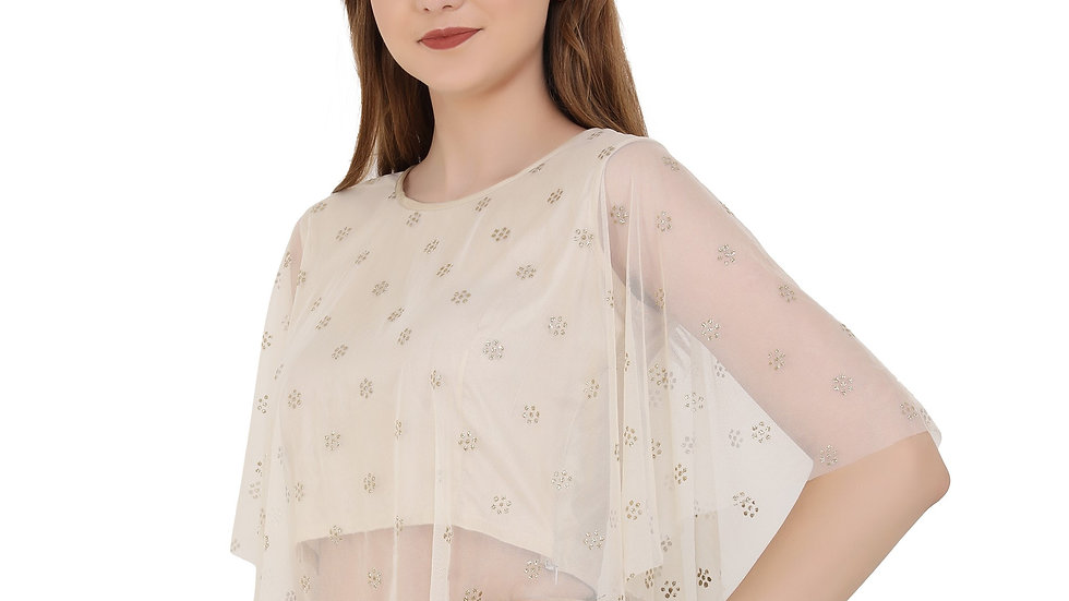 UNFAKENOW  Party No Sleeve Embellished Women Gold Top