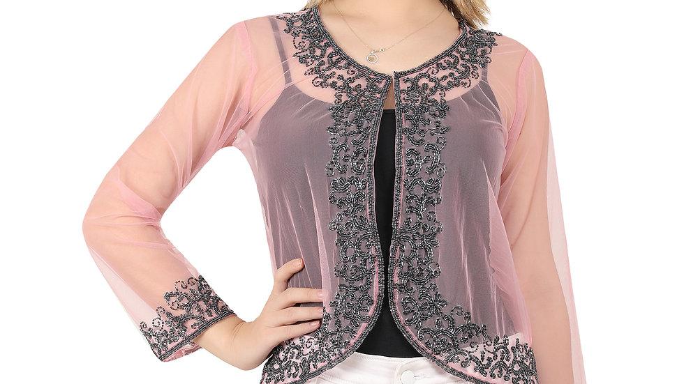 UNFAKENOW Women Bead Embellished Jacket Style Full Sleeve Pink Shrug