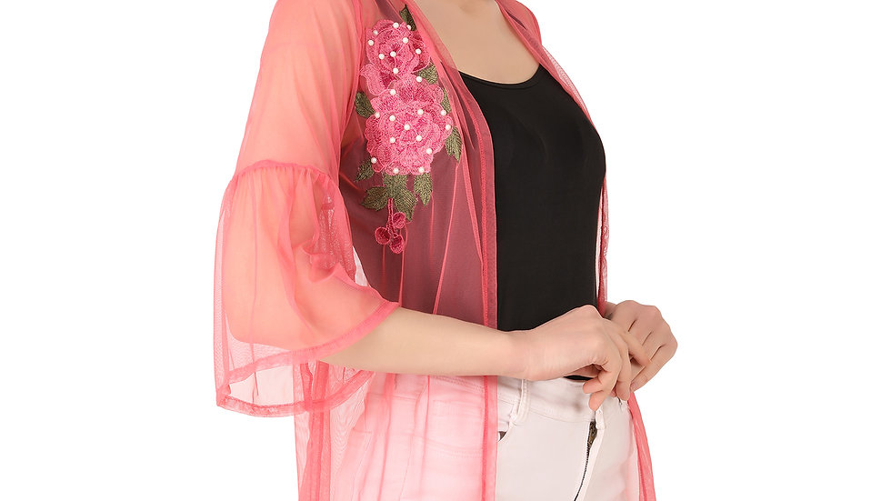 UNFAKENOW  Women 3/4th Sleeve Floral Embroidered Pearl Studded Coral  Shrug
