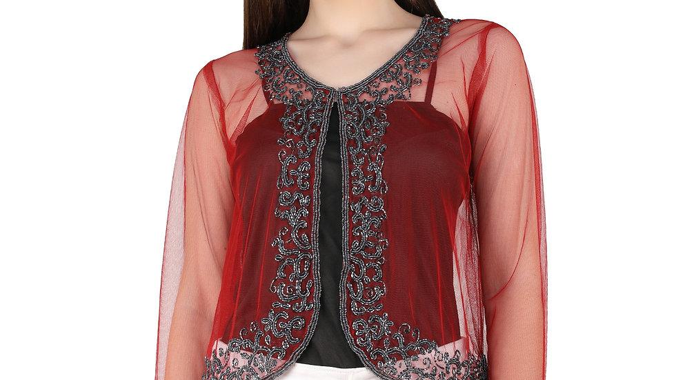 UNFAKENOW  Women Kimono Style Full Sleeve Red Shrug