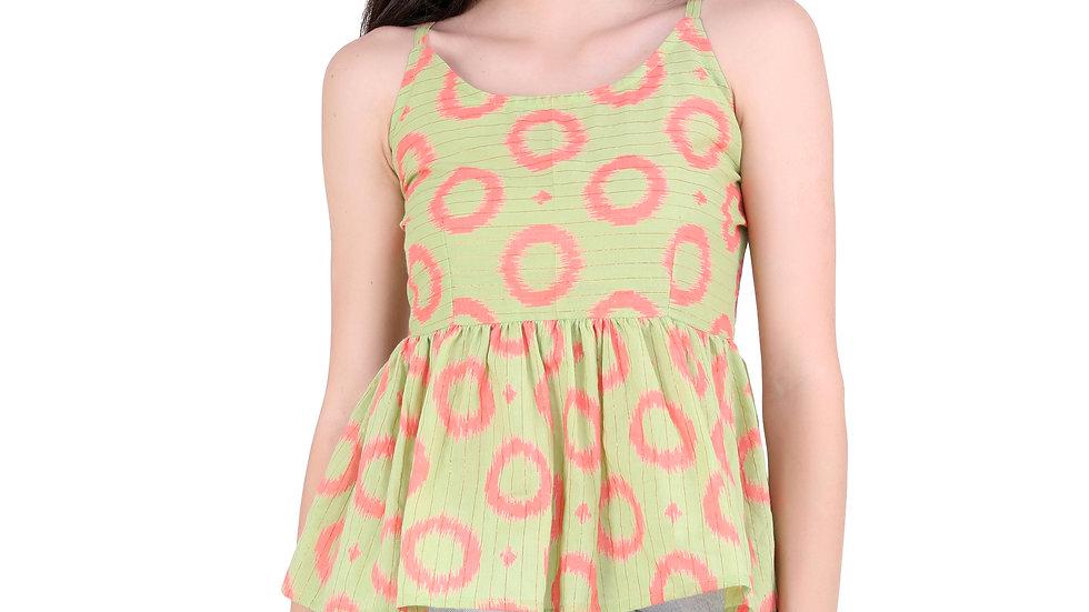 UNFAKENOW  Casual Sleeveless Printed Women Light Green Top