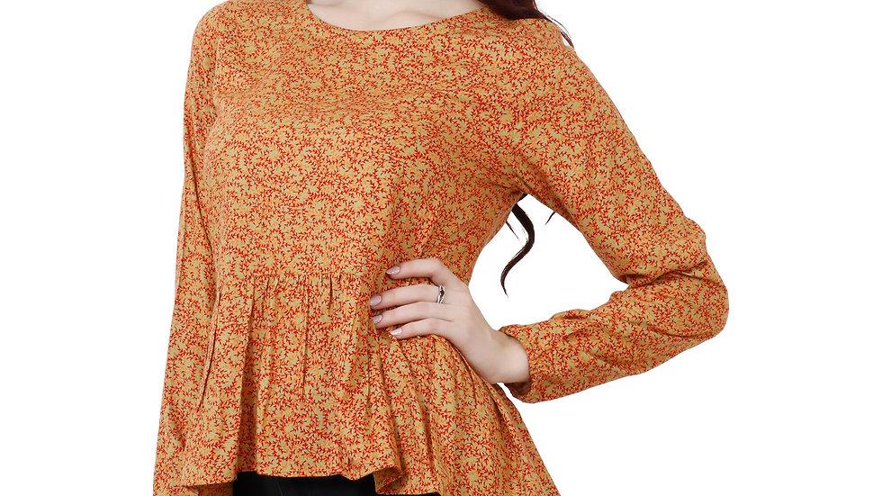 UNFAKENOW  Casual Full Sleave Floral Print Women Brown Top