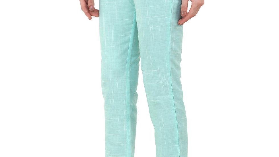 UNFAKENOW  Slim Fit Women Light Green Cotton Blend Trousers