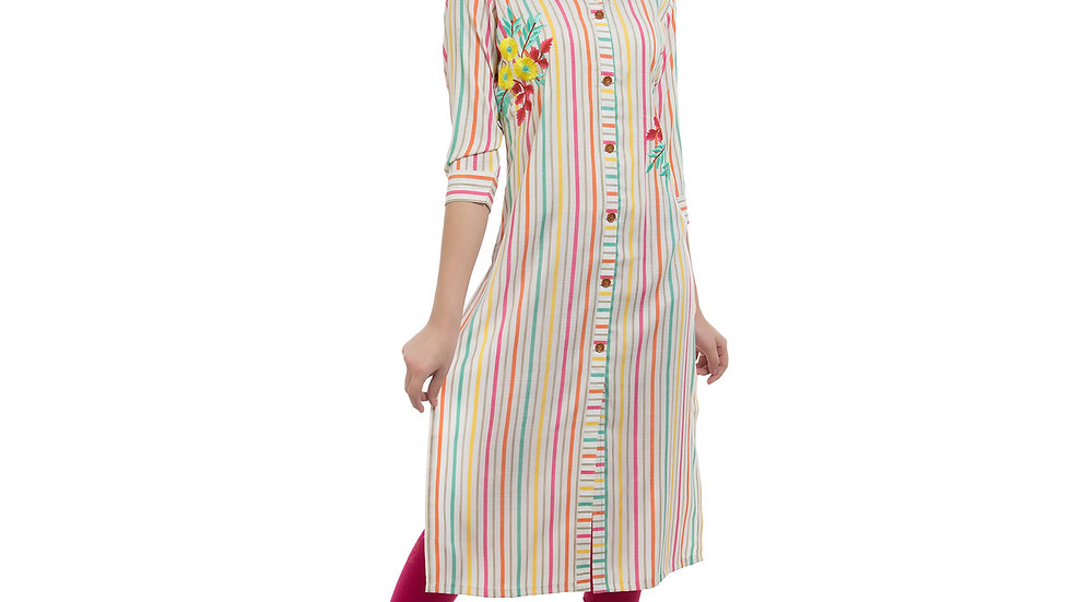 UNFAKENOW  Women Embroidered Cotton Blend Straight White Kurta