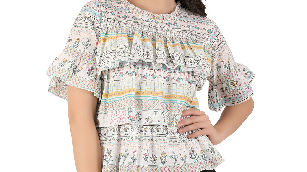 Unfakenow Casual Bell Sleeve Floral Print Women Multicolor Top