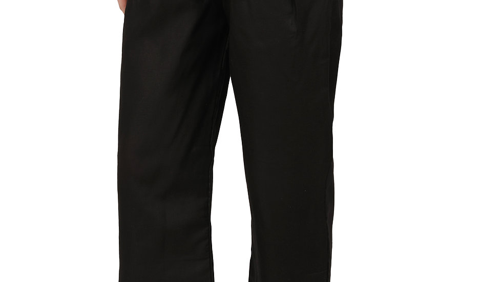 UNFAKENOW  Relaxed Women Solid Black Cotton Silk Trousers