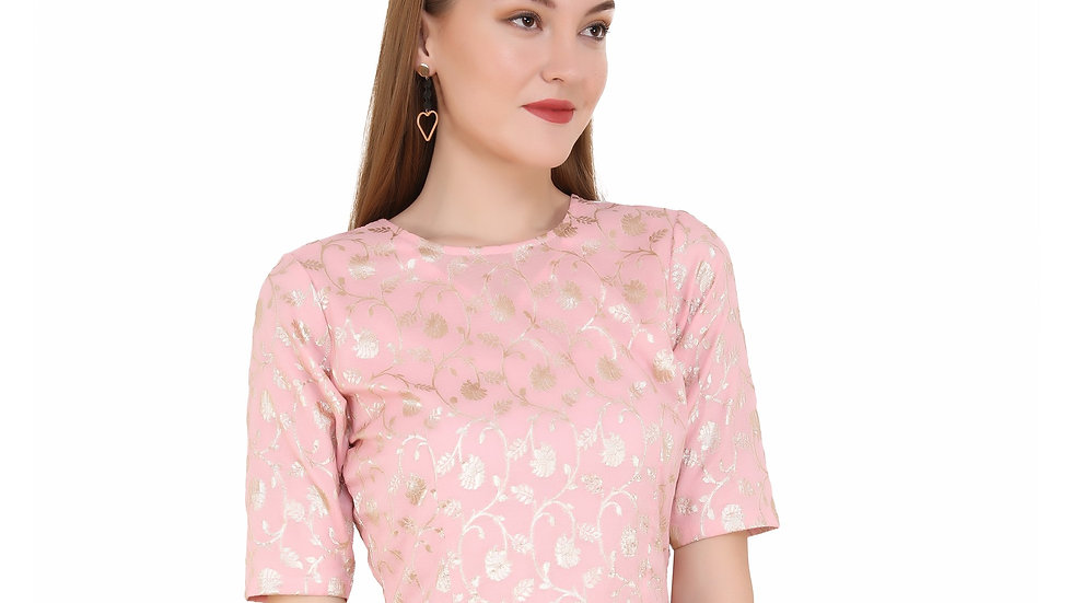 UNFAKENOW  Party Short Sleeve Floral Print Women Pink Top