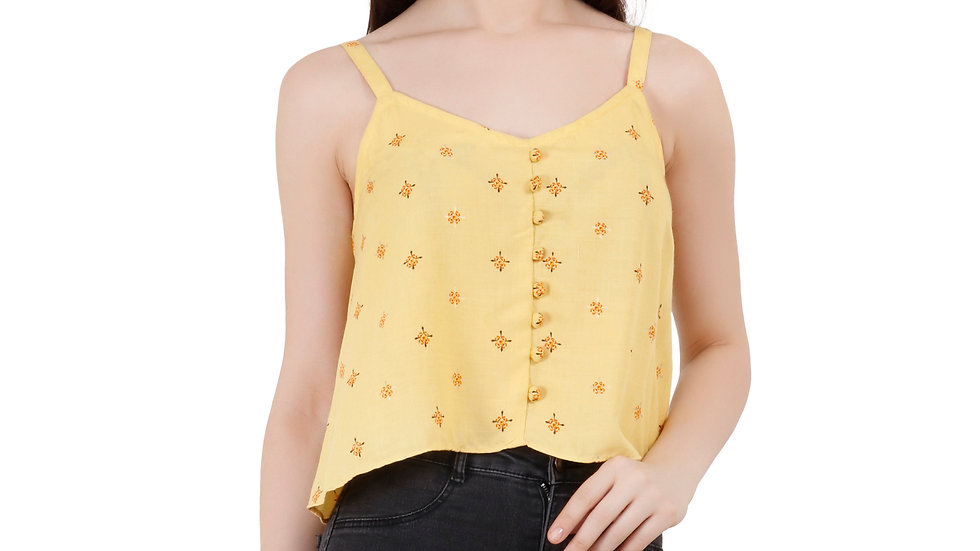 UNFAKENOW  Casual No Sleeve Self Design Women Yellow Top