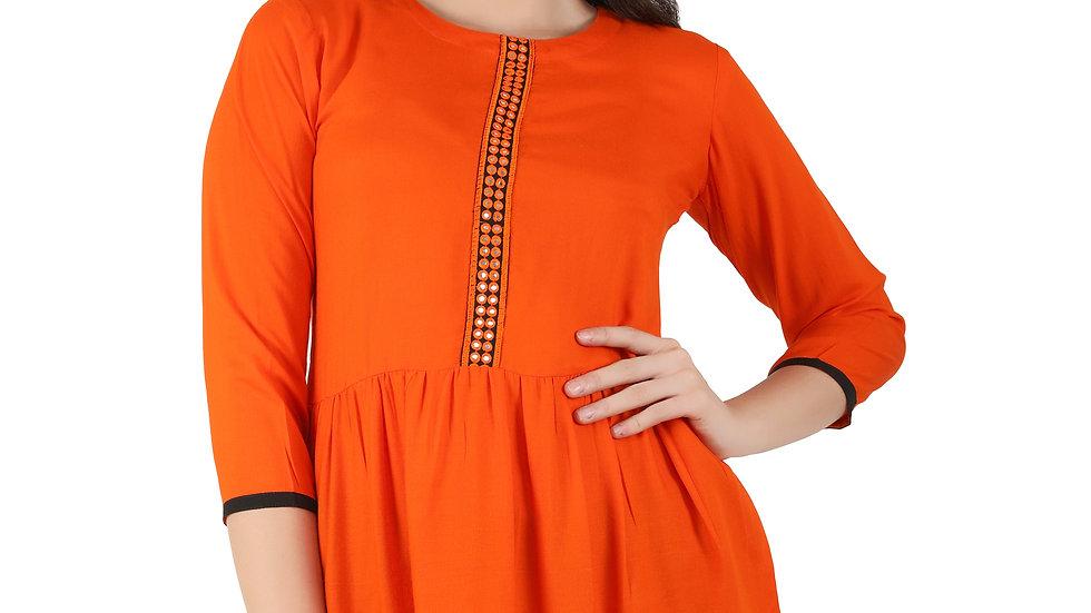 UNFAKENOW  Casual 3/4 Sleeve Embroidered Women Orange Top