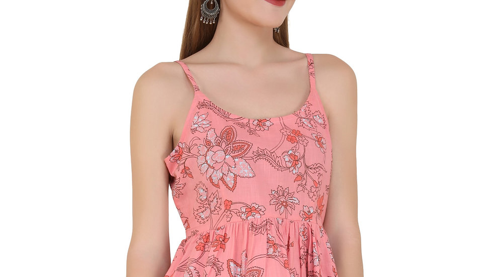 UNFAKENOW  Casual Sleeveless Floral Print Women Pink Top