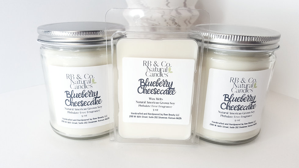 Hand-Crafted Blueberry Cheesecake Natural Soy Candle