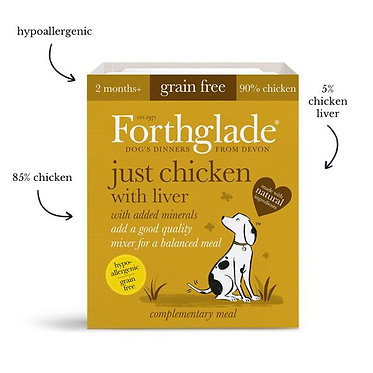 Forthglade Just Chicken and Liver Tray Wet Dog Food - 395g