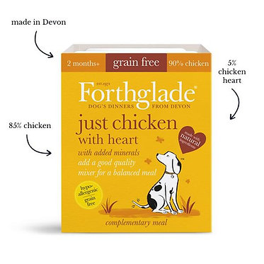 Forthglade Just Chicken and Heart Tray Wet Dog Food - 395g