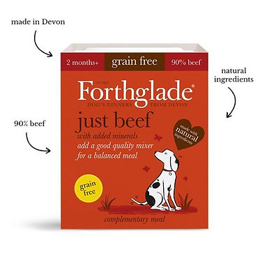 Forthglade Just Beef Tray Wet Dog Food - 395g