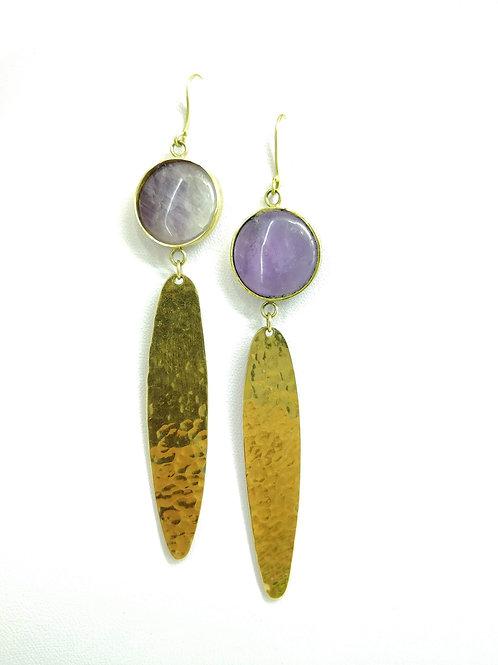 Amethyst Pressed Brass Earrings
