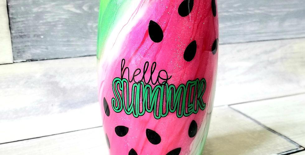 Watermelon Swirl Stemless Wine