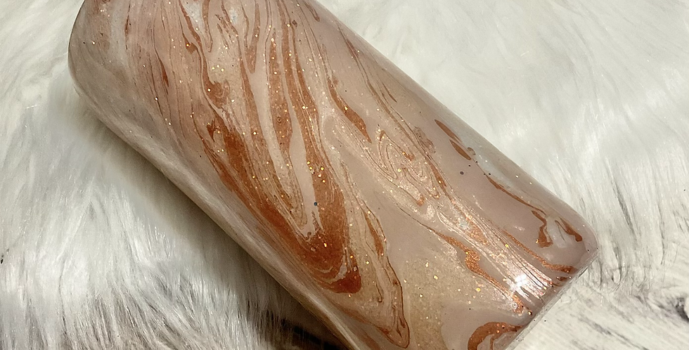 Rose Gold Marble Slim Can Koozie