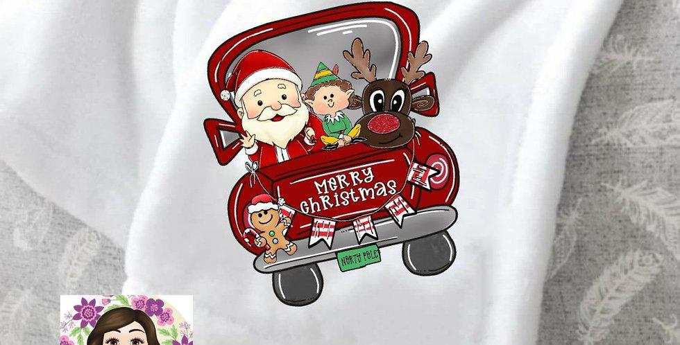 Merry Christmas Truck Throw Blanket