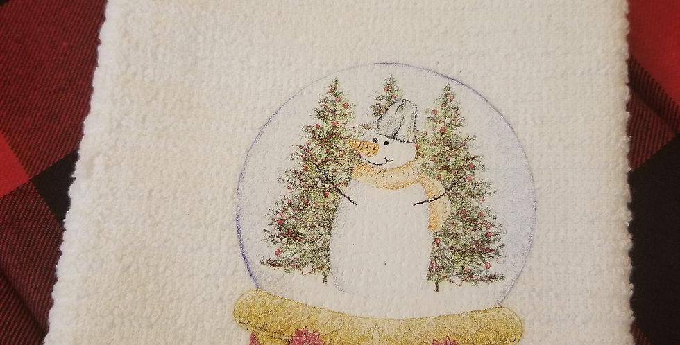 Snowman Globe Tea Towel