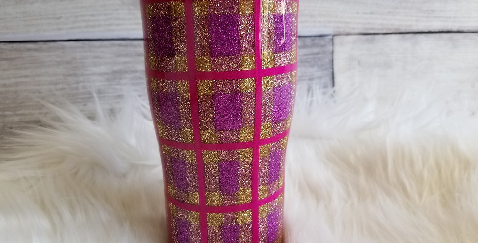 Fall Plaid Tumbler (Gold/Purple)