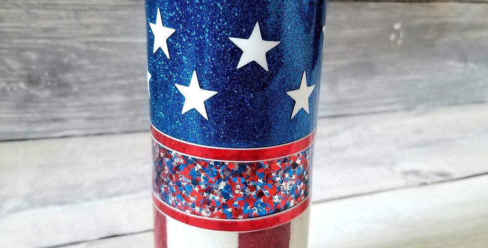 American Flag Tri-Split Tumbler