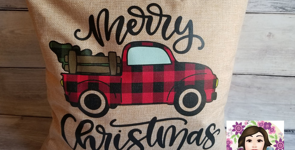 Merry Christmas Red Truck Pillow Cover