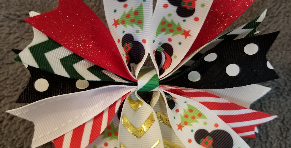 Mickey and Minnie Christmas Spiked Hair Bow