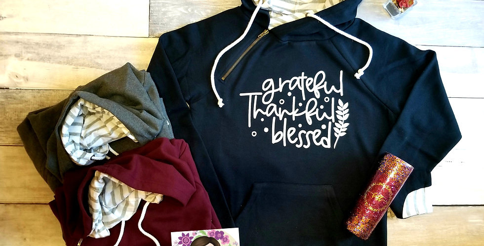 Grateful, Thankful, Blessed Double Hoodie