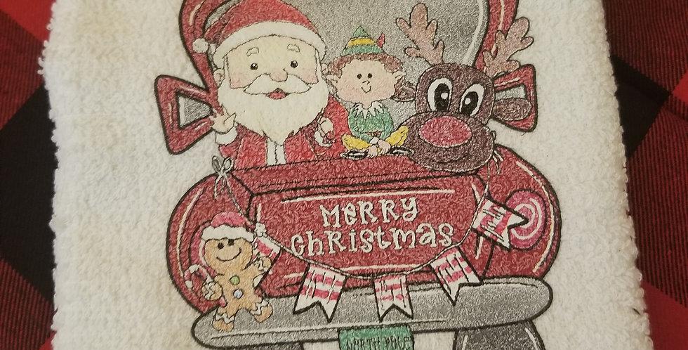 Merry Christmas Truck Tea Towel
