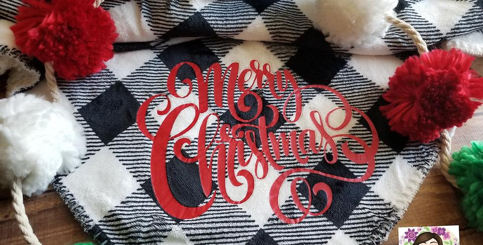 Merry Christmas White Plaid Throw