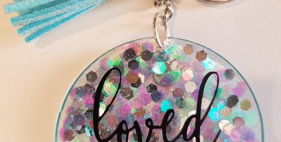 Loved. Glitter Keychain