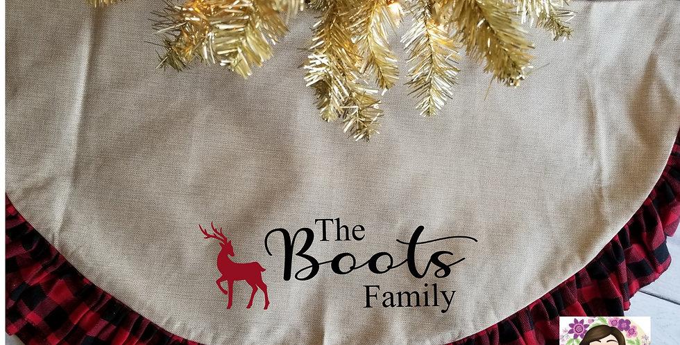 Reindeer Family Name Tree Skirt