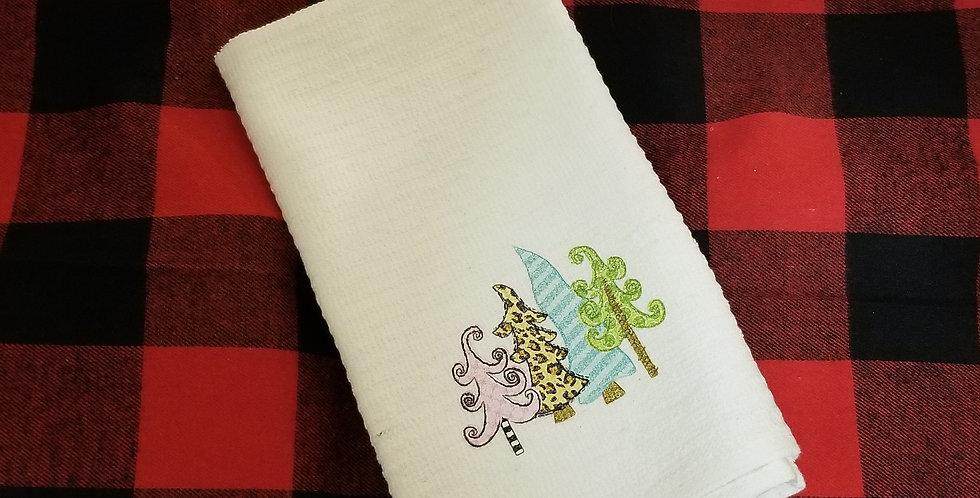 Crazy Trees Christmas Tea Towel