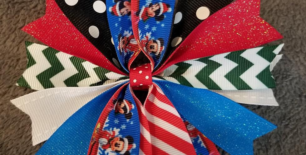 Christmas Mickey Spiked Hair Bow