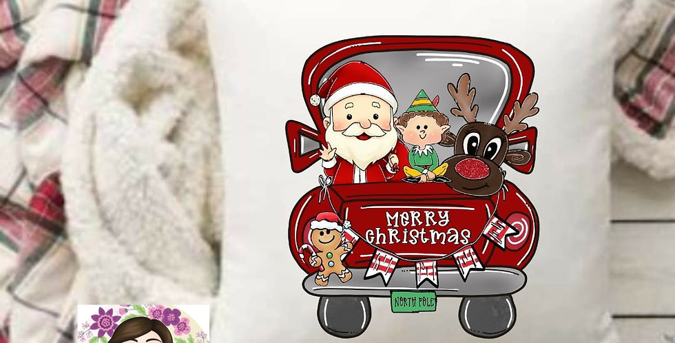 Merry Christmas Truck Pillow Cover