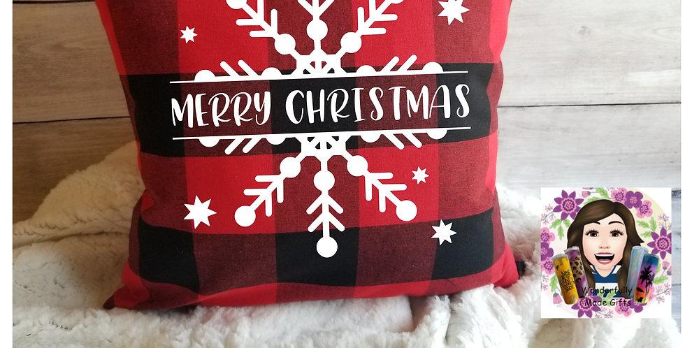Merry Christmas Plaid Pillow Cover