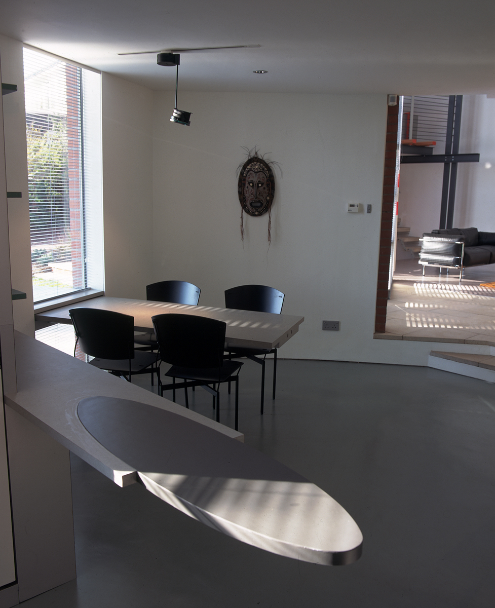 Kitchen with inside outside table