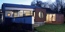 modern extension with sculptures