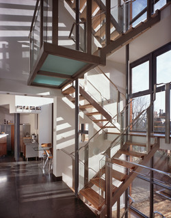 view of glass and timber staircase