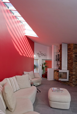 red interior wall glass roof light