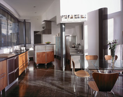 stainless steel and timber kitchen